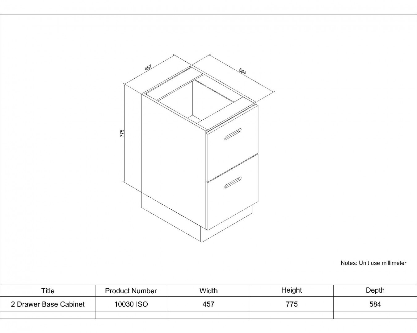 2 Drawer Base Cabinet 457