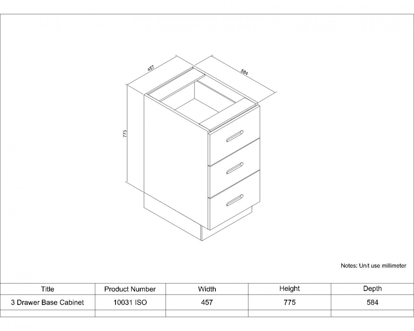 3 Drawer Base Cabinet 457
